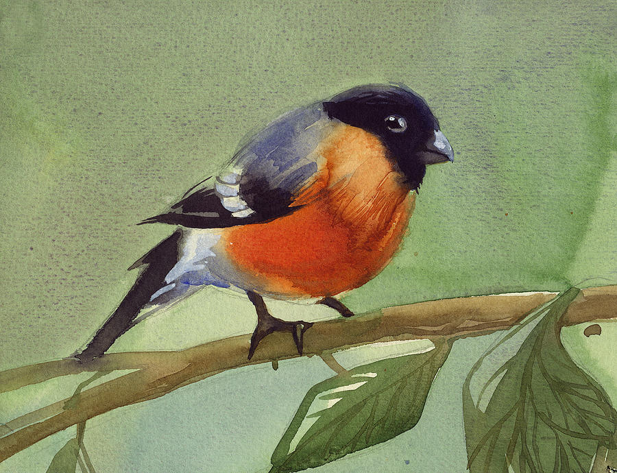 Nature Painting - The Red Birdie by Tatiana Zubareva