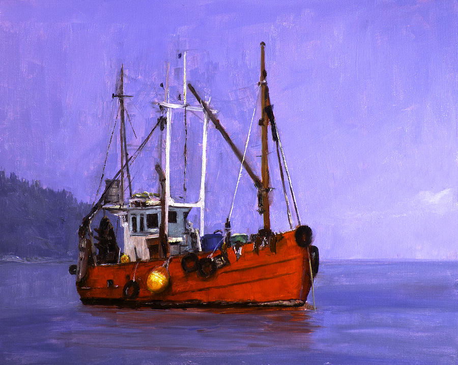Red Painting - The Red Fishing Boat by Carlos Herrera