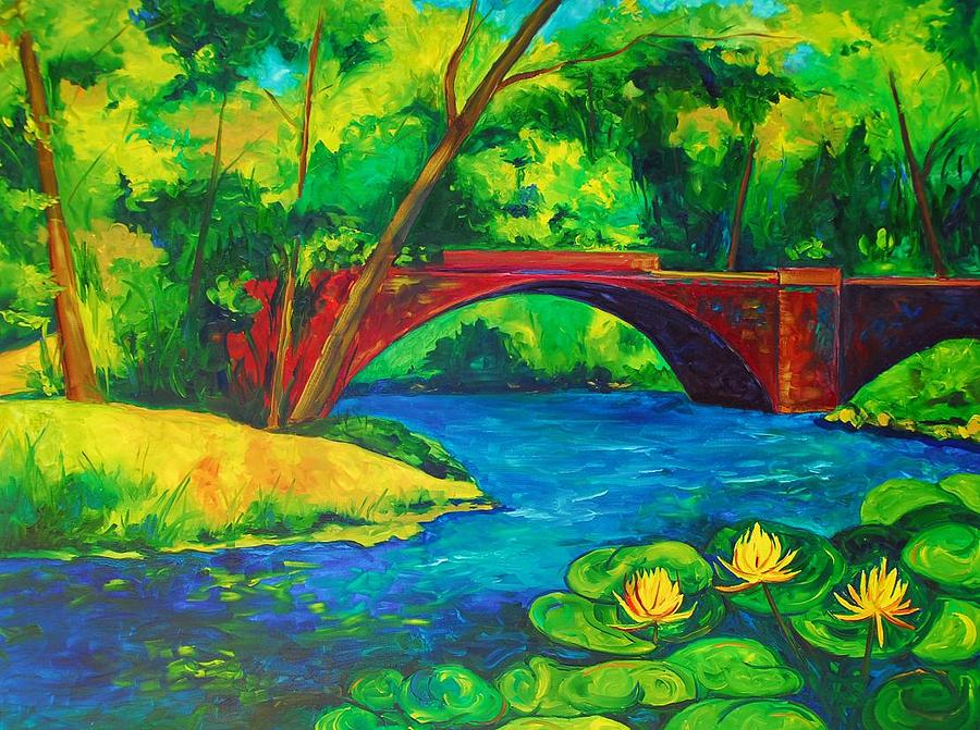 Bridge Painting - The Red Bridge by Brandi  Hickman