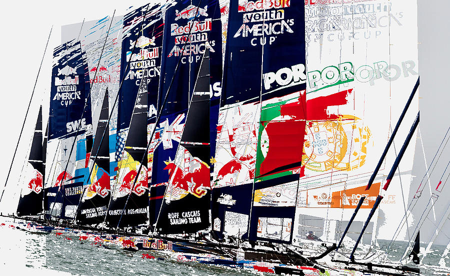 Greeting Card Photograph - The Red Bull Youth Americas Cup The Start by John Mangino