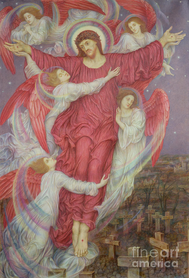 William Painting - The Red Cross by Evelyn De Morgan