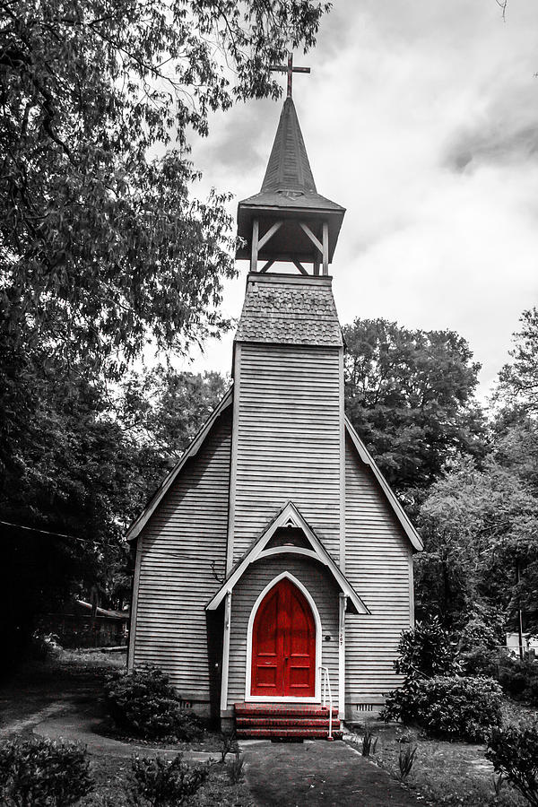 Church Photograph - The Red Door by Steven  Taylor
