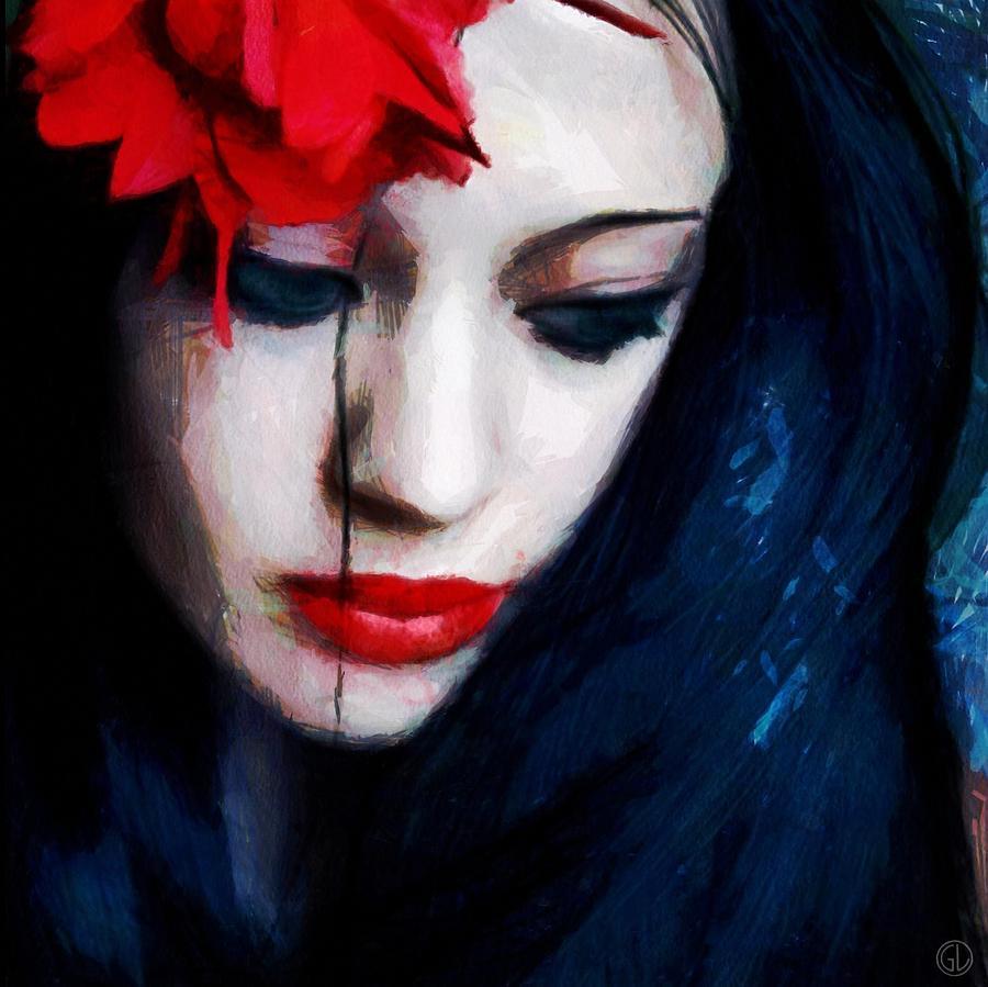 Woman Digital Art - The Red Flower by Gun Legler