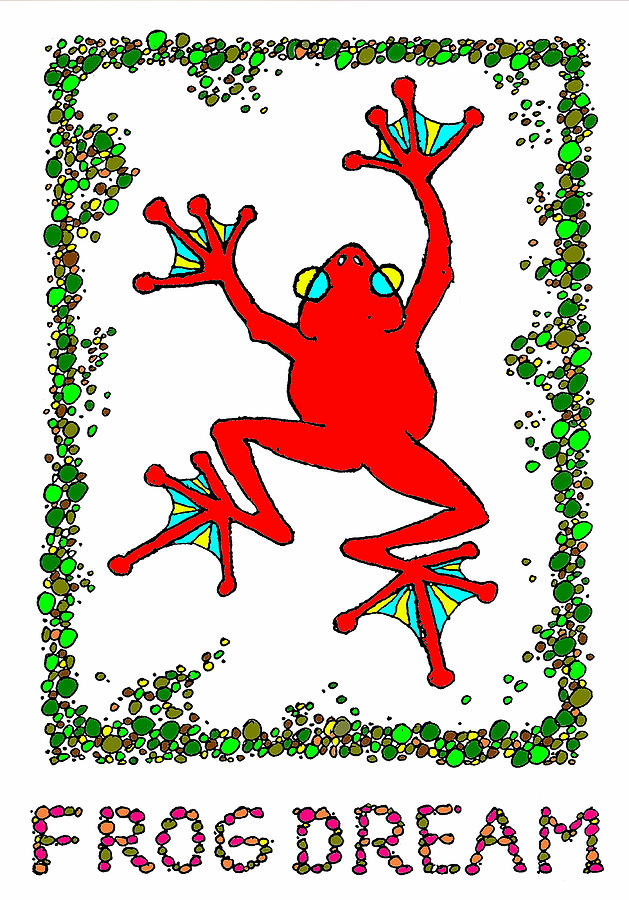 Frog Drawing - The  Red  Frog   by Hartmut Jager