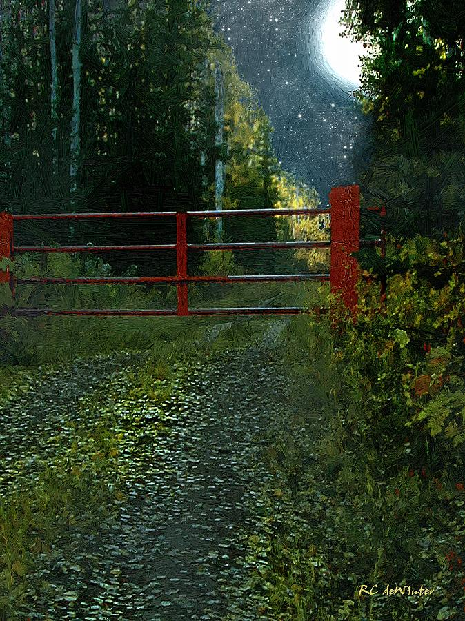 Landscape Painting - The Red Gate by RC DeWinter