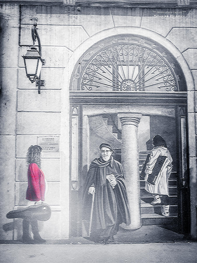 Black And White Photograph - The red girl and the holy man by Stwayne Keubrick