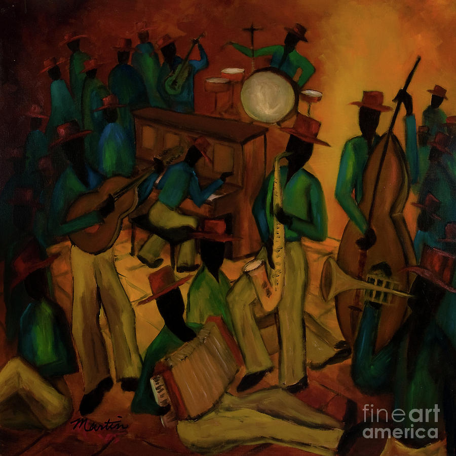 Jazz Painting - The Red Hat Octet And Friends by Larry Martin