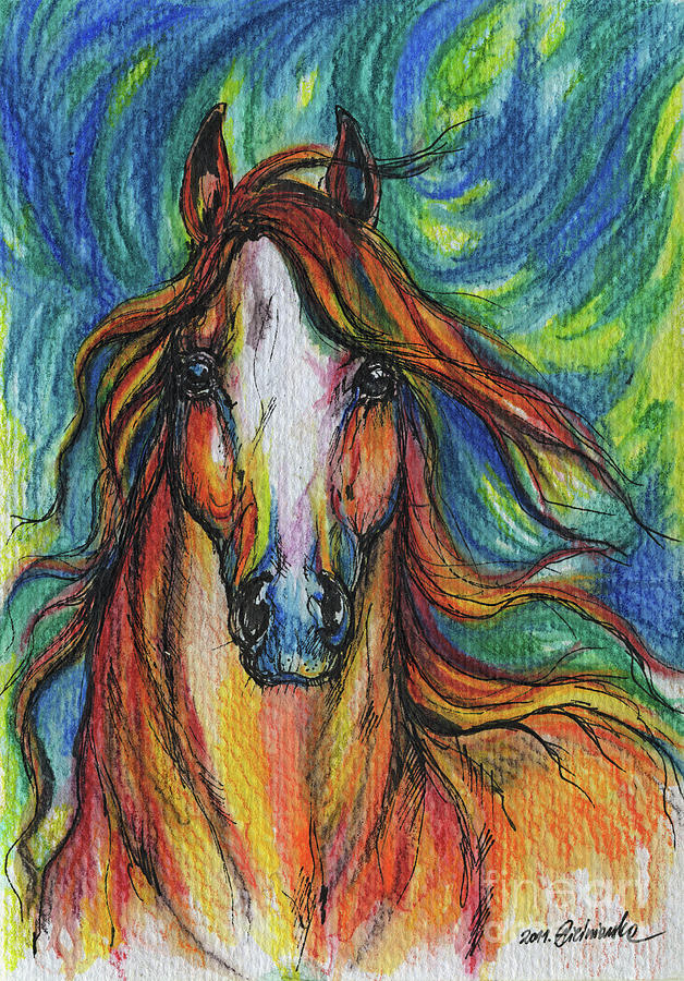 Psychodelic Painting - The Red Horse by Angel  Tarantella
