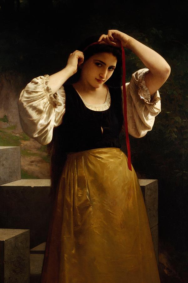 Style Painting - The Red Ribbon by William Adolphe Bouguereau