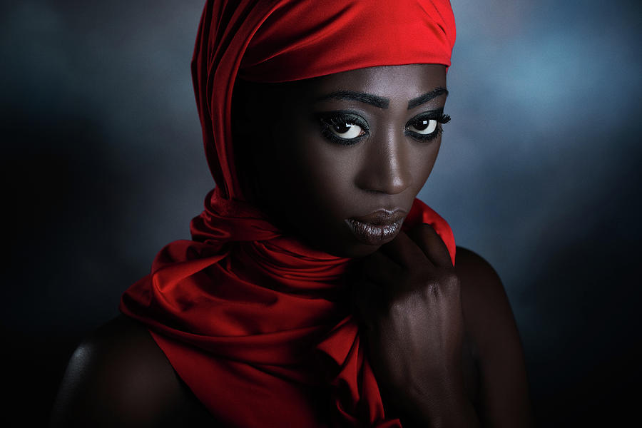 Red Photograph - The Red Scarf by Peppe