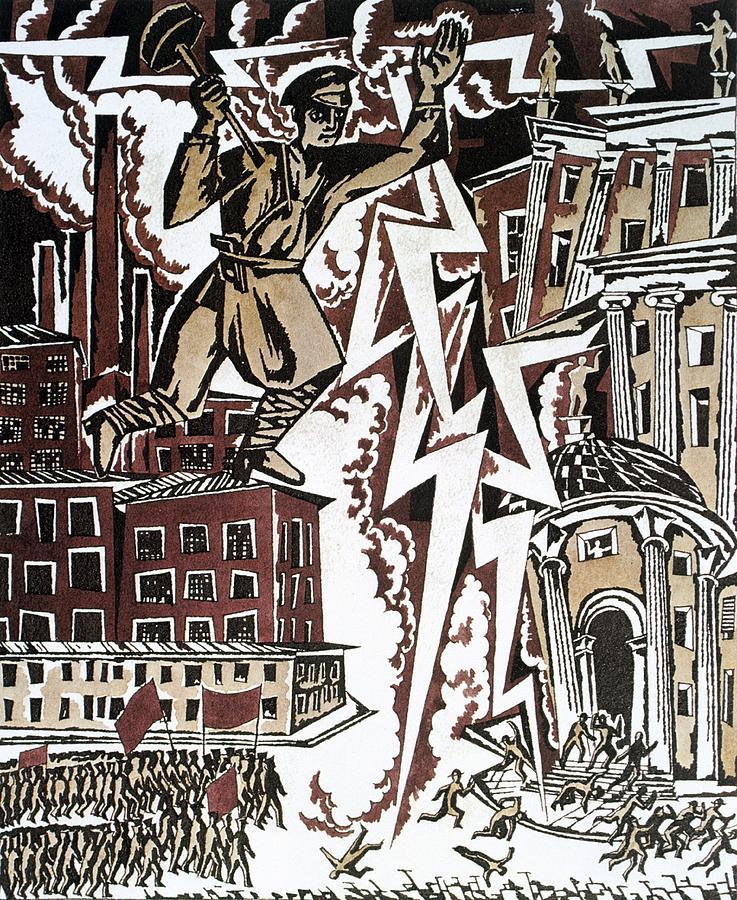 The Red Thunderbolt 1919 Drawing by Ignaty Nivinisky