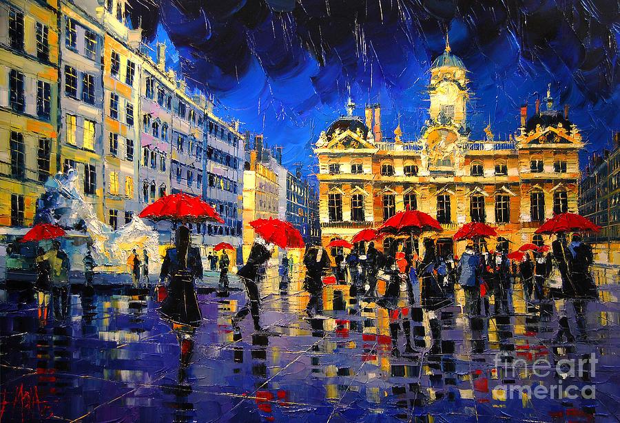 Emona Painting - The Red Umbrellas Of Lyon by Mona Edulesco