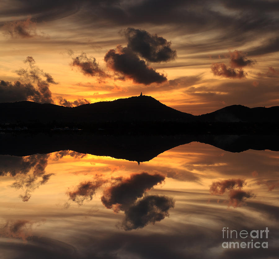 Sunset Photograph - The Reflecting Buddha by Pete Reynolds