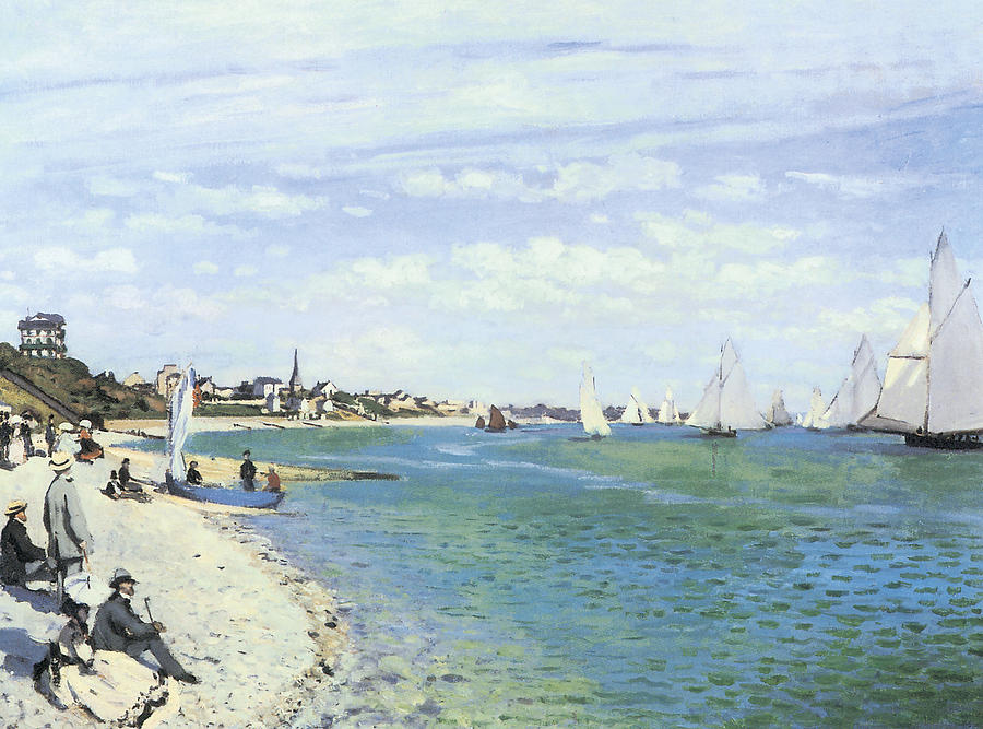 Regatta Painting - The Regatta At Sainte-adresse by Claude Monet