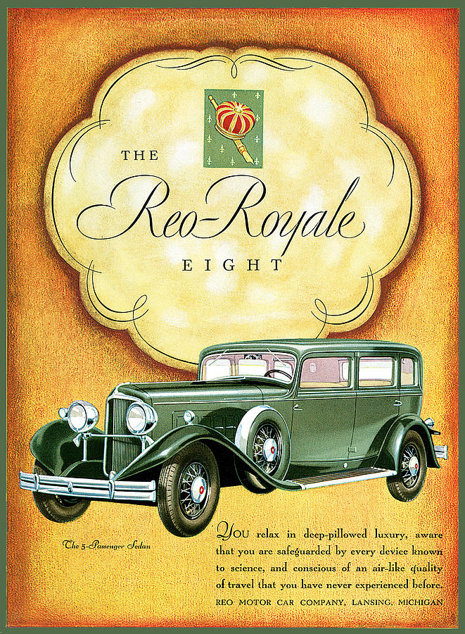 The Reo Royale Eight Painting by Vintage Automobile Ads and Posters