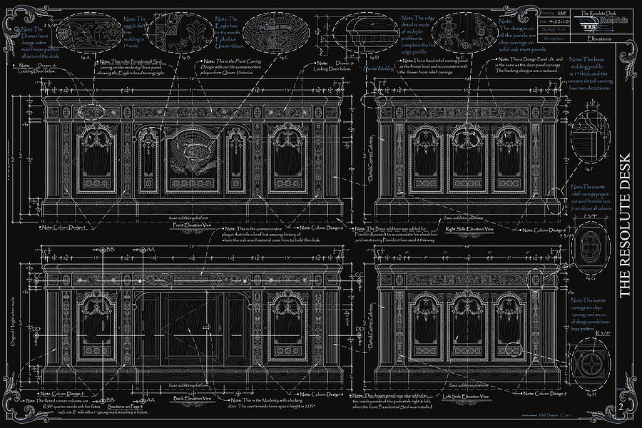 Furniture Drawing - The Resolute Desk Blueprints- Black/white Line by Kenneth Perez