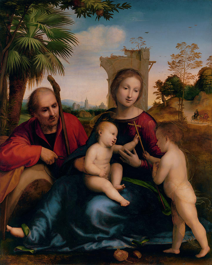 Rest Painting - The Rest On The Flight Into Egypt With St. John The Baptist by Litz Collection