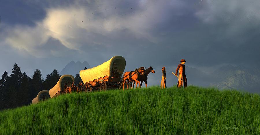 Wagon Train Digital Art - The Restless Scout by Dieter Carlton