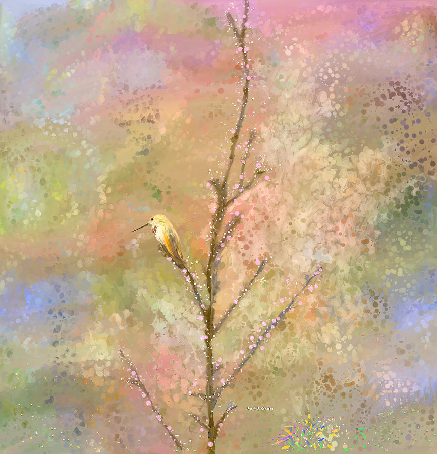 Hummingbirds Painting - The Restlessness Of Springtime Rest by Angela A Stanton