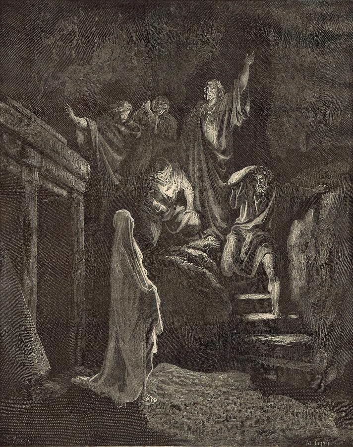 Biblical Drawing - The Resurrection Of Lazarus by Antique Engravings