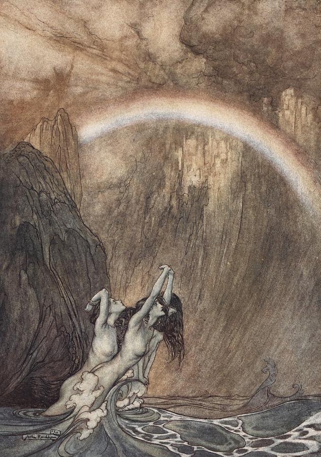 Arthur Rackham Drawing - The Rhine S Fair Children Bewailing Their Lost Gold Weep by Arthur Rackham