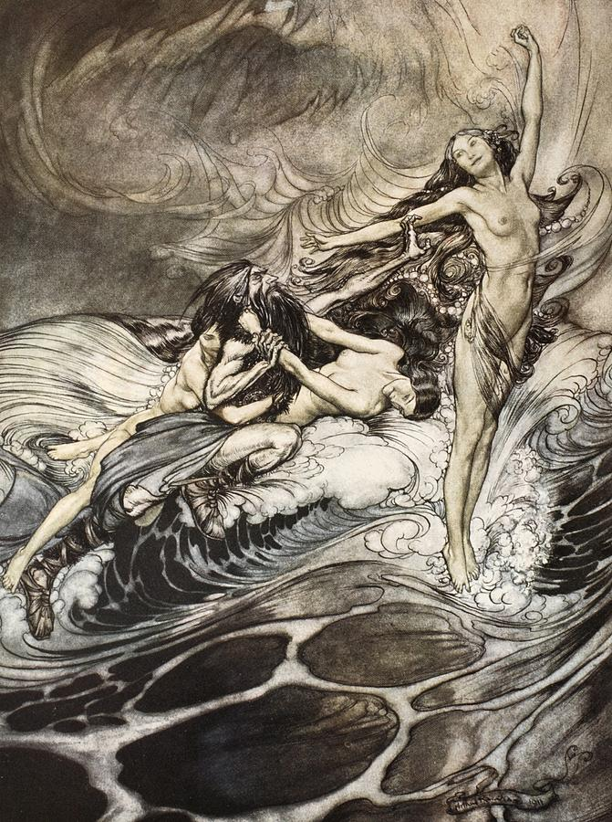 Nude Drawing - The Rhinemaidens Obtain Possession Of The Ring And Bear It Off In Triumph by Arthur Rackham