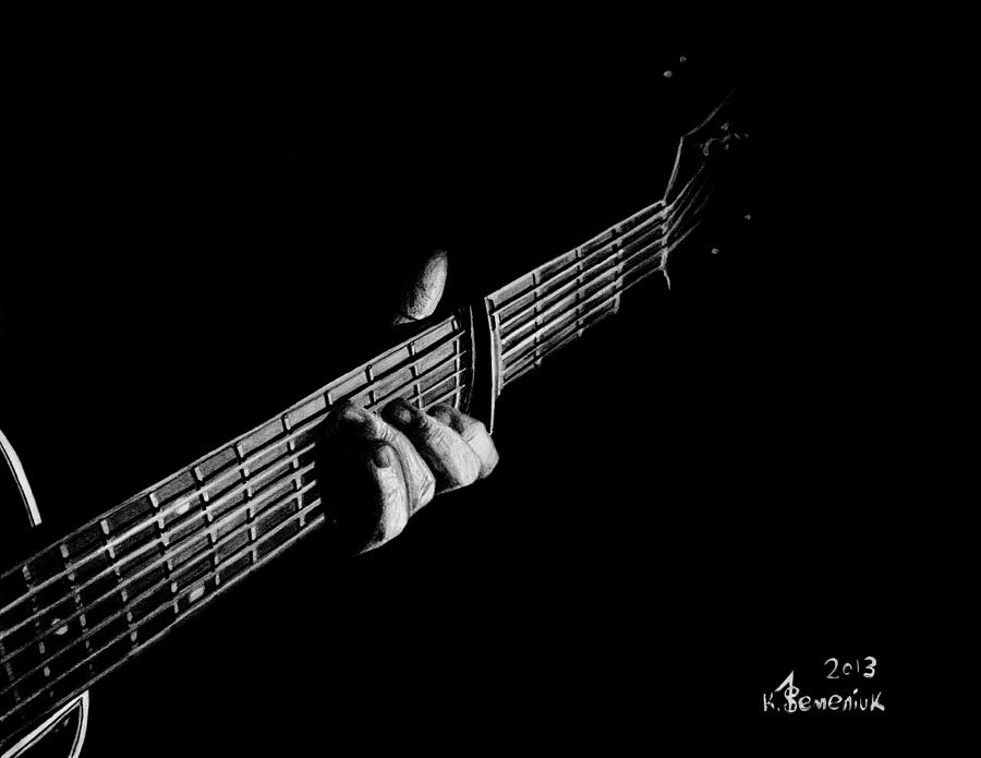 Guitar Drawing - The Right Chord by Kayleigh Semeniuk