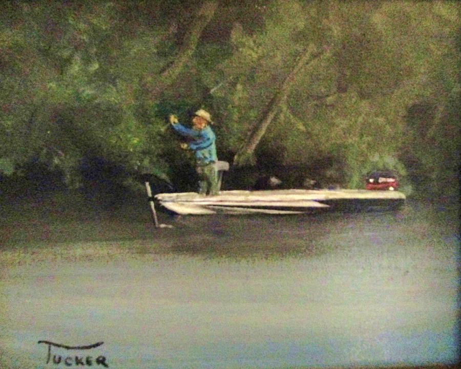 Boat Fishing Painting - The Right Spot by David Earl Tucker