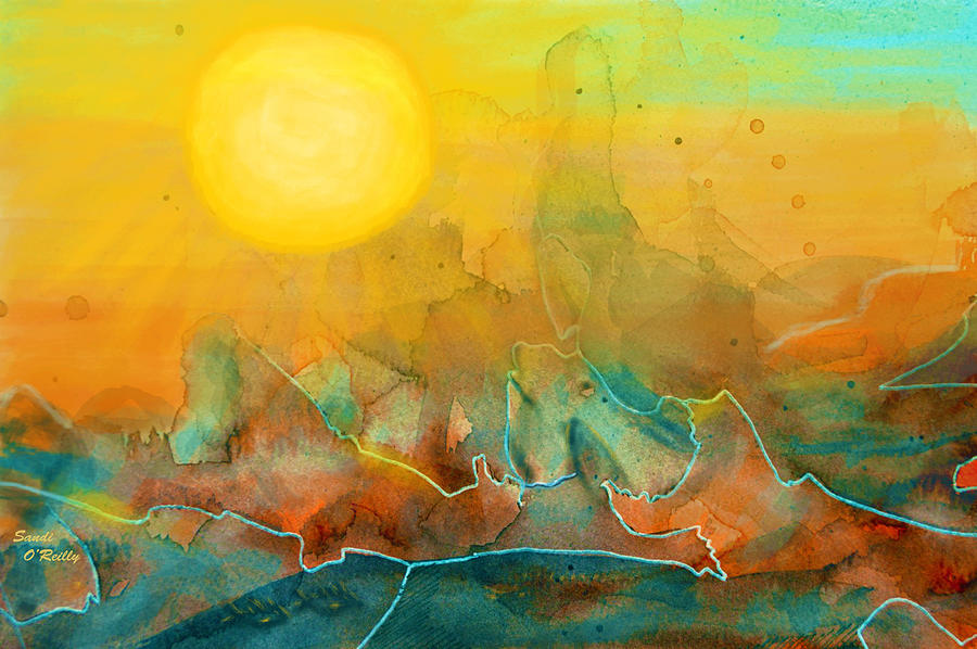 Abstract Mixed Media - The Rising Sun by Sandi OReilly