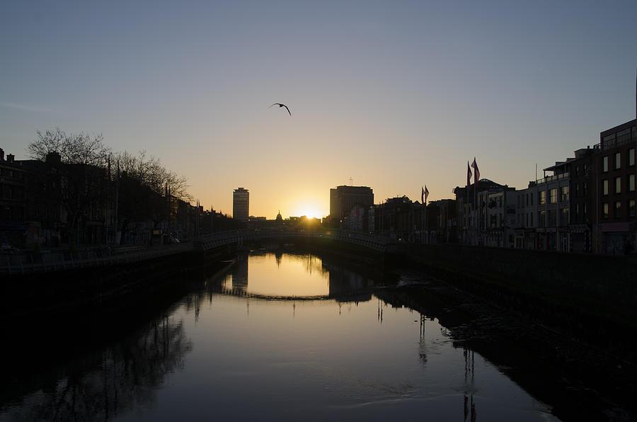 River Photograph - The River Swiffey At Sunrise - Dublin Ireland by Bill Cannon