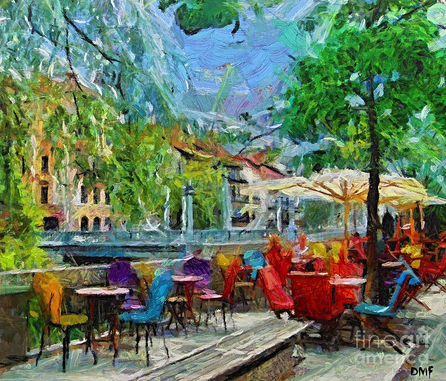 Landscapes Painting - The Riverside Cafe by Dragica  Micki Fortuna