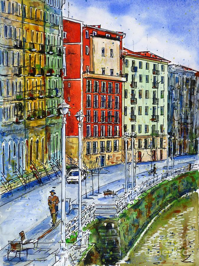 The Riverside Houses At Bilbao La Vieja Painting