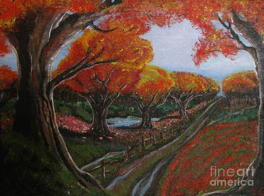 Impressionistic Landscape. Fall Painting - The Road Home by Erik Coryell