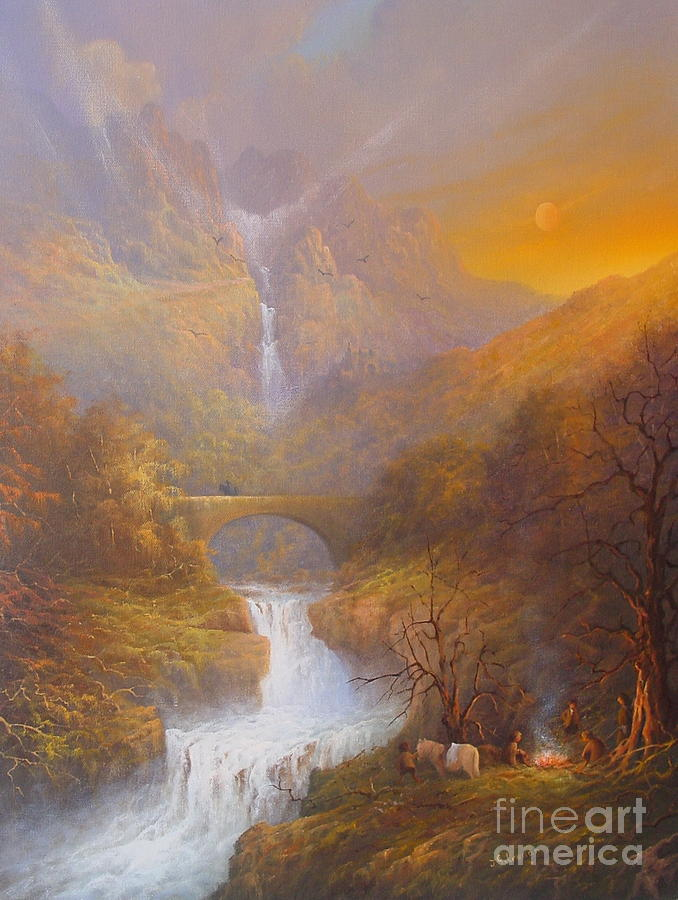 Tolkien Painting - The Road To Rivendell The Lord Of The Rings Tolkien Inspired Art  by Joe  Gilronan