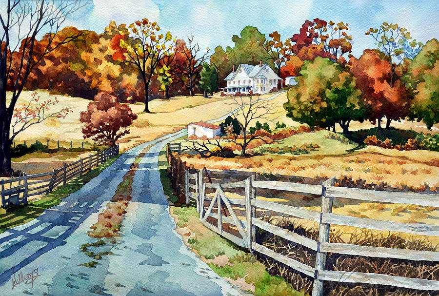 Landscape Painting - The Road to the Horse Farm by Mick Williams