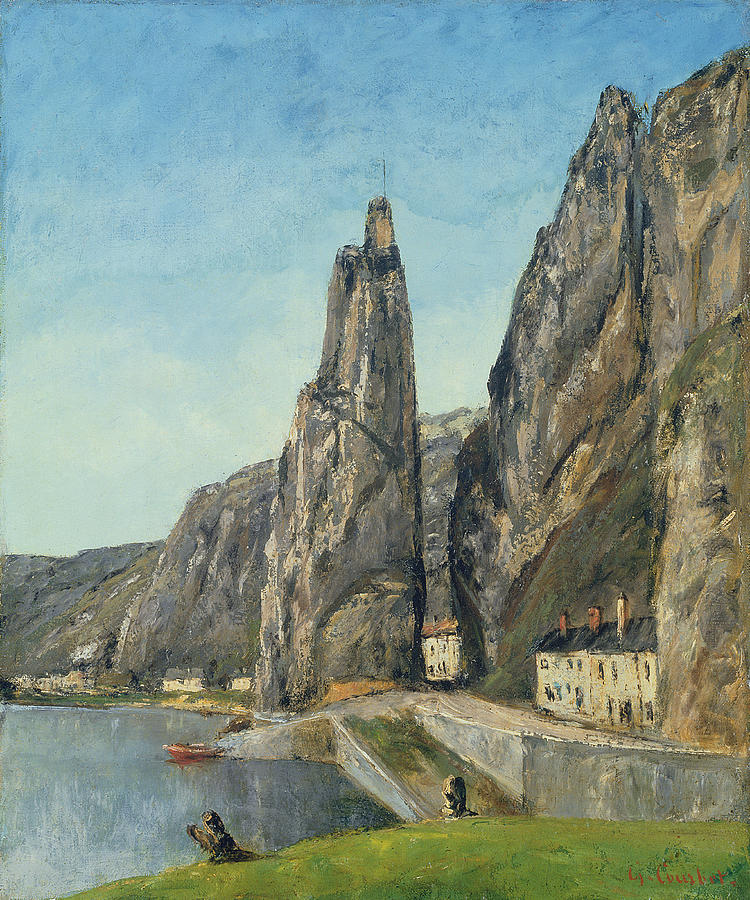 Rock Painting - The Rock At Bayard, Dinant, Belgium by Gustave Courbet