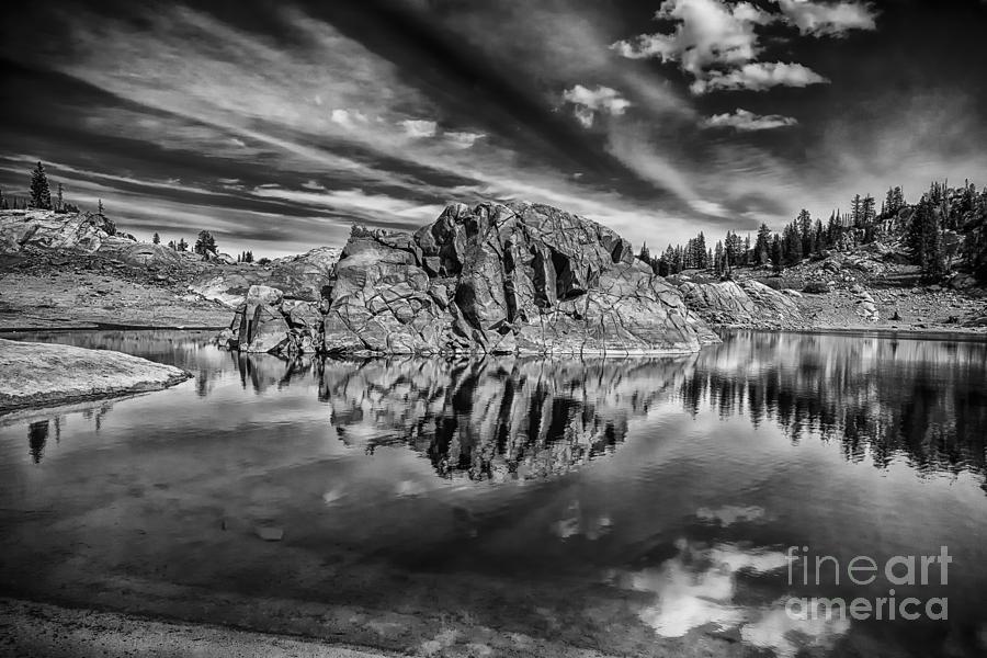 B&w Photograph - The Rock Island Bw by Mitch Johanson