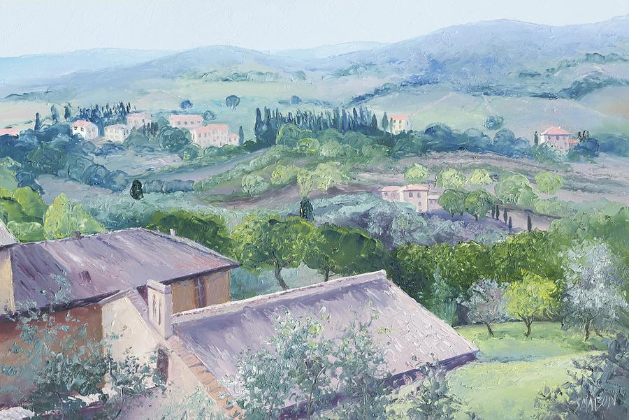 Tuscany Painting - The Rolling Hills Of Tuscany by Jan Matson