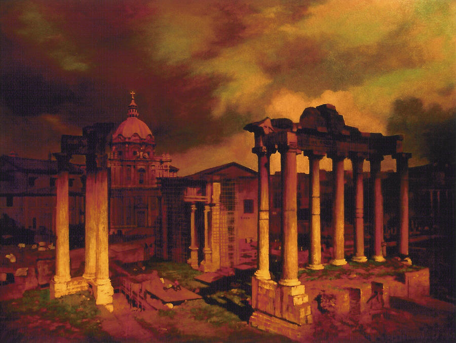 Rome Painting - The Roman Forum by Blue Sky
