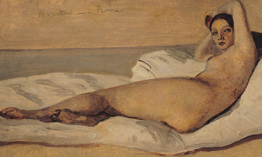 Corot Painting - The Roman Odalisque by Jean Baptiste Camille Corot