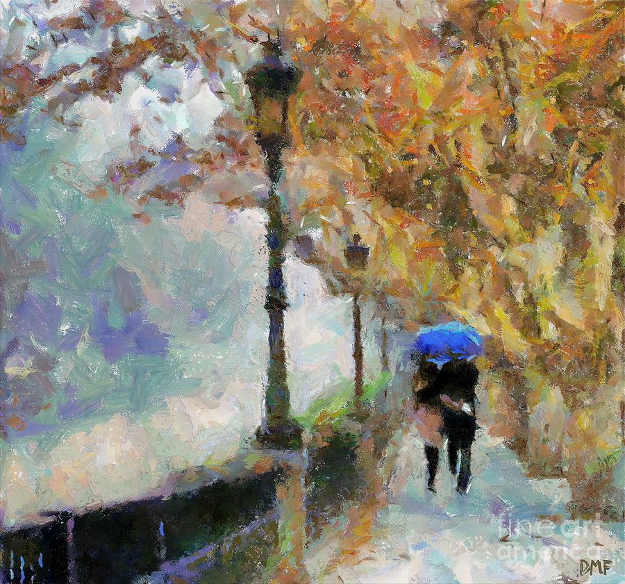 Couple Painting - The Romantic Stroll by Dragica  Micki Fortuna