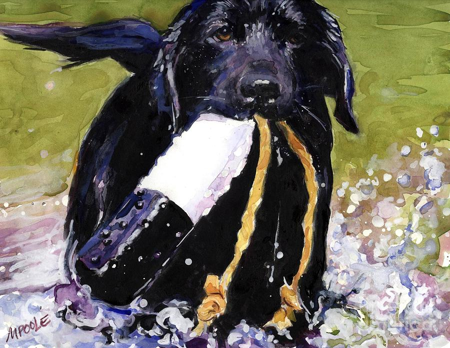 Black Lab Puppy Painting - The Ropes by Molly Poole