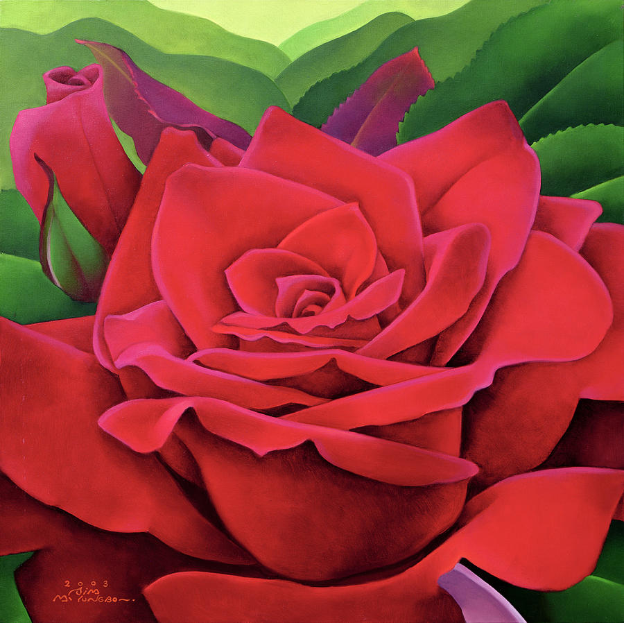 Flower Painting - The Rose by Myung-Bo Sim