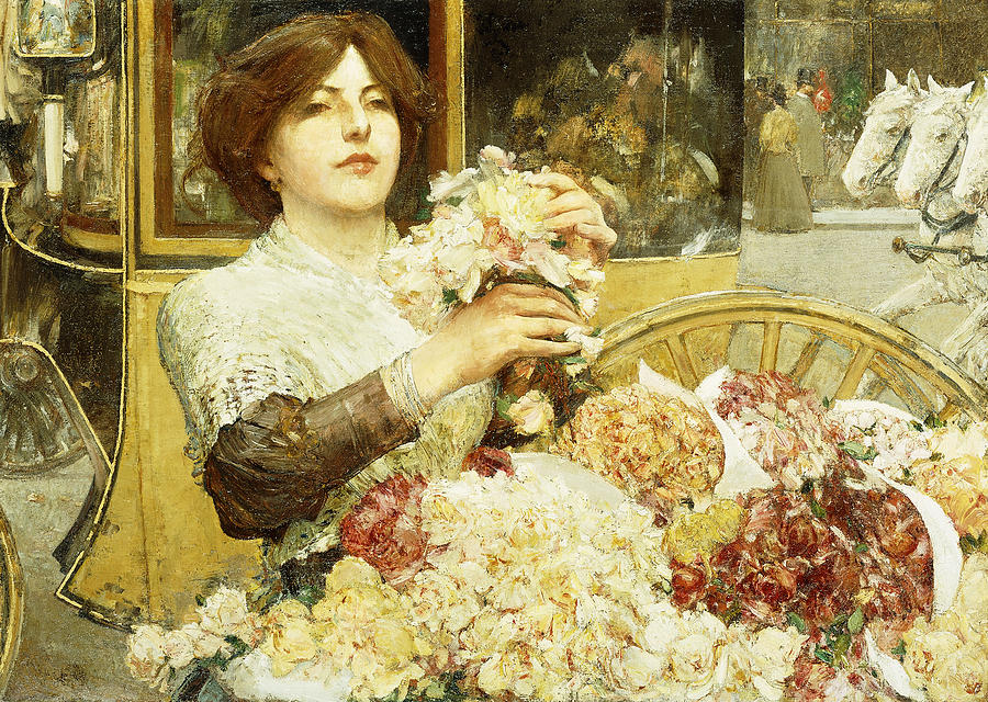 Hassam Painting - The Rose Girl by Childe Hassam