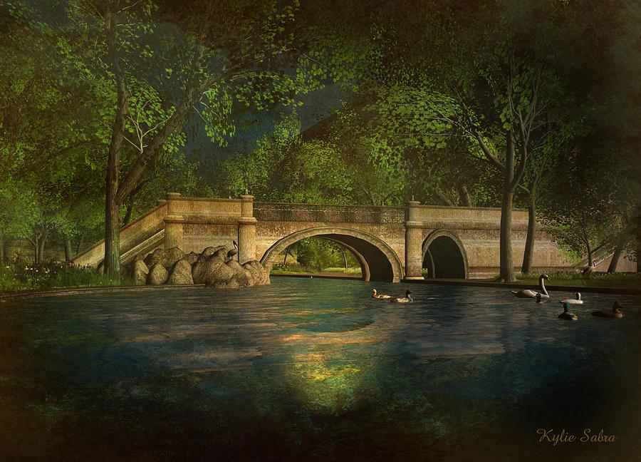 Bridge Digital Art - The Rose Pond Bridge 06301302 - By Kylie Sabra by Kylie Sabra