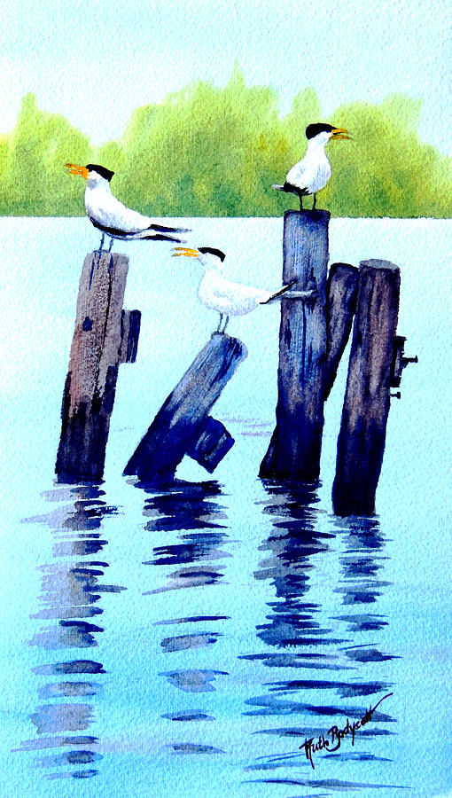 Waterscape Painting - The Royal Terns by Ruth Bodycott