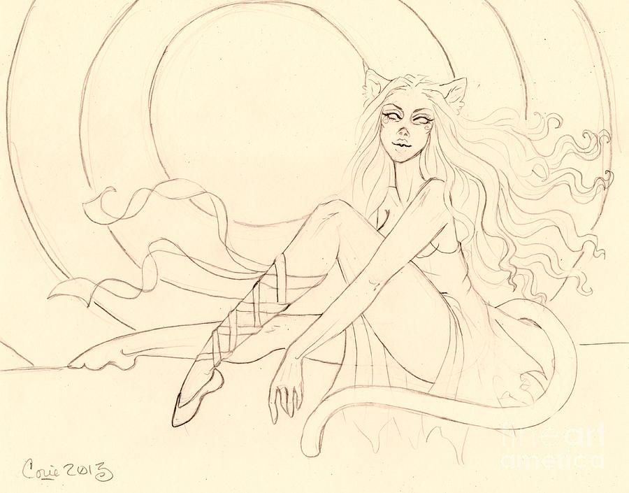 Neko Drawing - The Ruby Slipper Sketch by Coriander  Shea