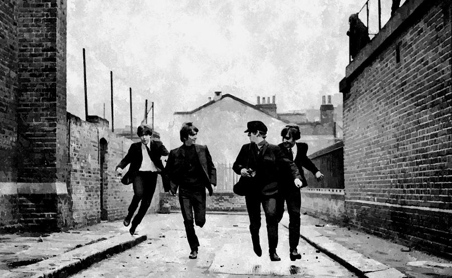 Music Painting - The Running Beatles by Florian Rodarte