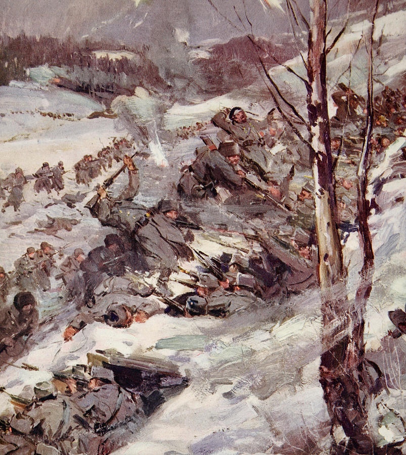 World Painting - The Russians Fighting Their Way Over The Carpathians by Cyrus Cuneo