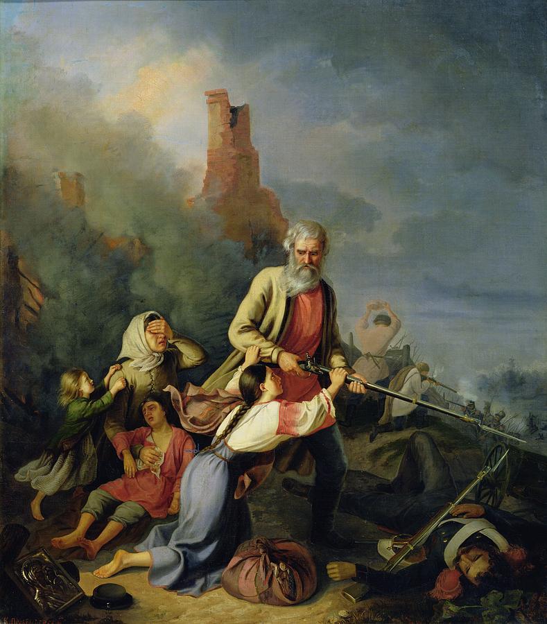 Napoleonic War Photograph - The Russians In 1812, 1855 Oil On Canvas by Konstantin Przhceslavski